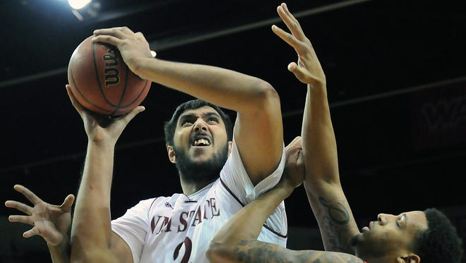 Former New Mexico State center Sim Bhullar (2) is training for a spot on Canada's roster for next month's Olympic Qualifying Tournament.