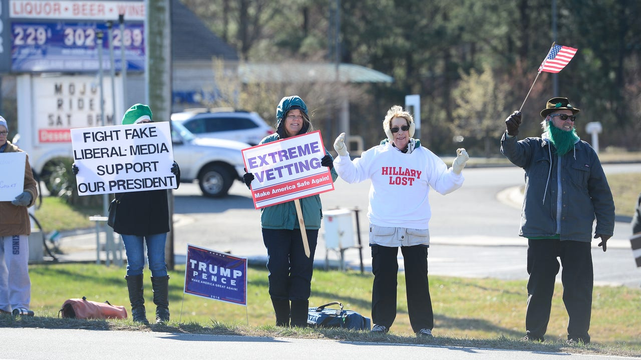 Supporters of President Donald Trump gathered for a rally in West Ocean City on March 11, 2017.