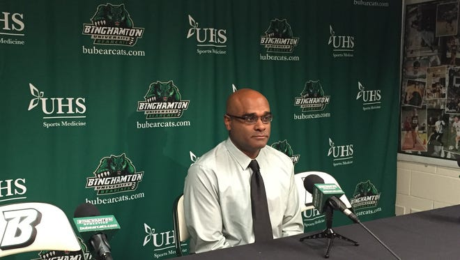 Binghamton University women's soccer coach Neel Bhattacharjee speaks with reporters in the Events Center on Thursday, Jan. 7, 2016.