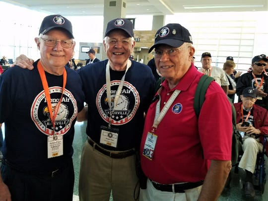 Departing McGhee Tyson Airport last October, Robert O'Dare, escort Roger Gum and flight coordinator Jim Cundall were among the 119 veterans and escorts on HonorAir flight number 25.