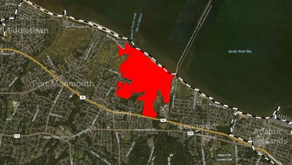 An outline of the proposed redevelopment area within the Belford section of MIddletown.