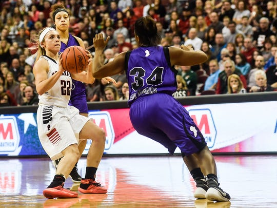 Pleasant's Kamryn Kimmel takes a shot during the State Championship basketball game against Africentric on Saturday.