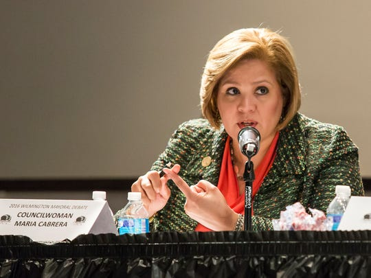 Councilwoman Maria Cabrera speaks during the Complexities of Color Coalition's Wilmington Mayoral Debate at the Ezion Fair Baptist Church in Wilmington on April 18.
