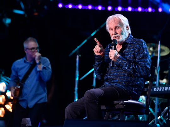 Kenny Rogers performs at Nissan Stadium on the first day of CMA Fest 2017, on Thursday, June 8, 2017, in Nashville.