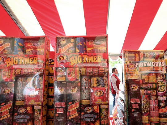 A fireworks stand in the parking lot of the Fred Meyer in East Bremerton.