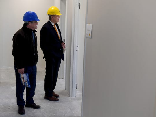 Director of Development for LeBonheur Kenneth Wurzburg and Bank of Jackson CEO Gary Grisham walk through the new LeBonheur facility in Jackson during a hard-hat tour, Monday, October 30.