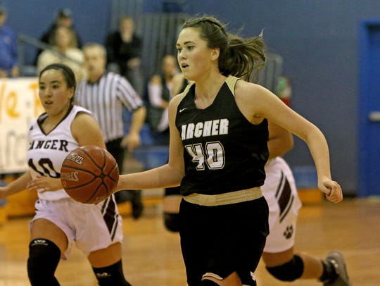 Archer City's Kacey Hasley drives to the basket against