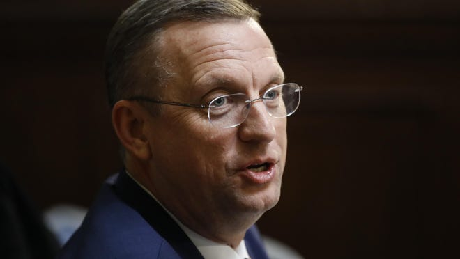 FILE- In this Dec. 17, 2019 file photo, Rep. Doug Collins, R-Ga., speaks during a House Rules Committee hearing on the impeachment against President Donald Trump on Capitol Hill in Washington.  Collins announced that he's running for the U.S. Senate seat held by a fellow Republican, setting up a battle that could divide the state party this election year. Collins made the announcement Wednesday, Jan. 29, 2020 on Fox & Friends.