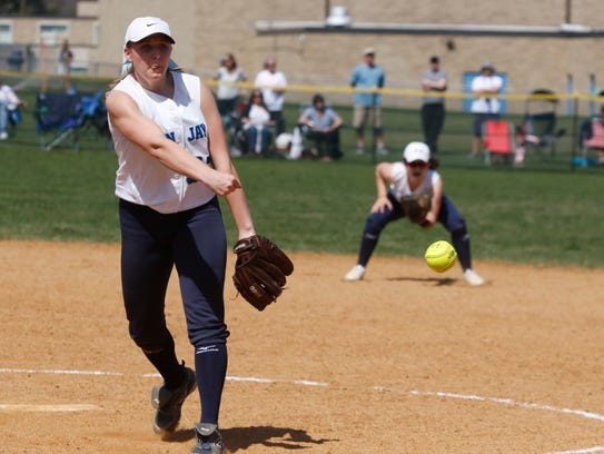 John Jay pitcher Ally Muller delivers a pitch during