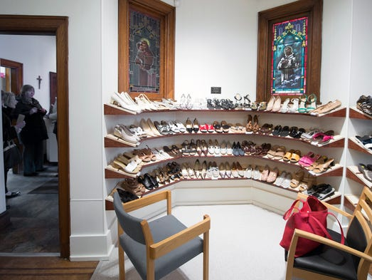 A shoe display area is now at the front of a chapel