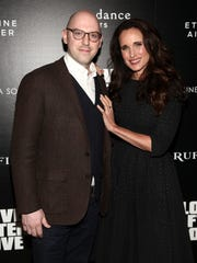 """Russell Harbaugh and Andie MacDowell attend a special screening of """"Love After Love"""" at the Roxy Cinema Tribeca on March 28, 2018, in New York."""