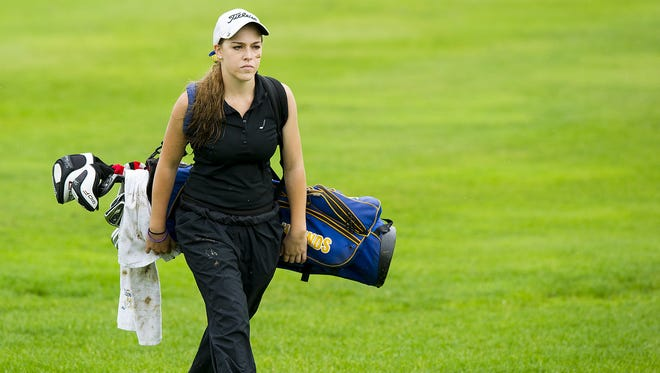 Makenzie Curtis was a senior on the Carmel girls golf team that broke the state record by 10 strokes.  She tied for third in individual standings.