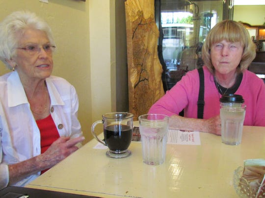 "Durelle Hudson, left, and Stayton United Methodist Senior Pastor Janine DeLaunay visited Canyon Conversations July 13 at Moxieberry to discuss a local need for tutors and an upcoming ""Imagine No Malaria"" concert."