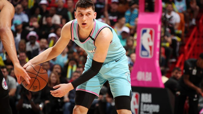 Tyler Herro of the Miami Heat handles the ball during the game against the LA Clippers on January 24, 2020 at American Airlines Arena in Miami, Florida.