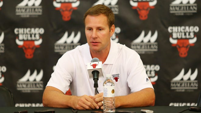 New Chicago head coach Fred Hoiberg during the Bulls media day press conference Sept. 28.