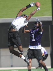 ACU receiver DeShun Qualls, left, can't haul in a pass