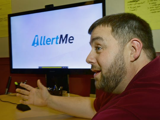 Tim Mussmon, Chambersburg, talks about the app, AllertMe, that he developed to give people notifications about critical food allergen alerts.