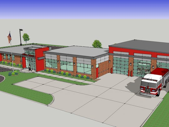 A preliminary artist's rendering shows the proposed addition to Kimball Township Fire Station 1.