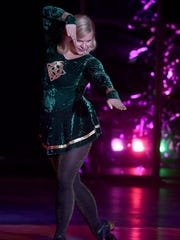 """Missing Door County 2017 Susan Fochs performs an Irish dance, """"The Cry of the Celts,'' during the talent portion of the 21st annual Miss Door County Pageant. To see a photo gallery of the pageant, go to www.doorcountyadvocate.com."""
