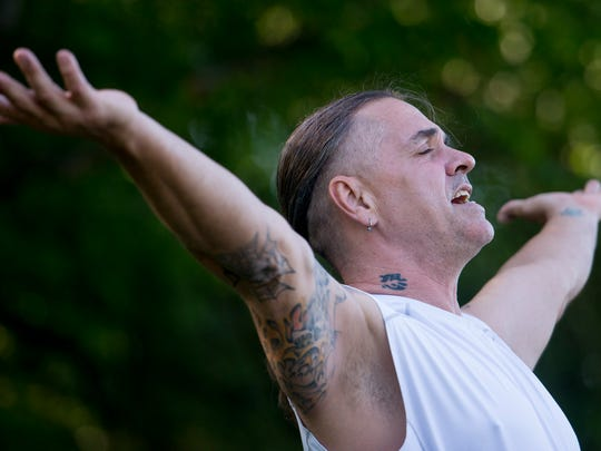 "Frank ""Breeze"" Smith teaches a free yoga class in Blount Cultural Park near the Alabama Shakespeare Festival in Montgomery, Ala., on Saturday May 6, 2017."