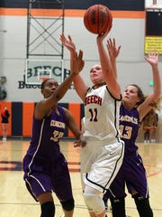 Beech's Kennedy Powell drives to the basket during Tuesday's game against Clarksville.