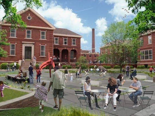 A rendering of part of the Herman Kiefer complex, which is planned to be a centerpiece to its revamped neighborhood in Detroit.