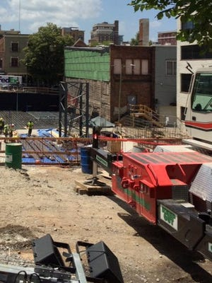 Workers have begun foundation work on the AC Hotel going in near the BB&T Building downtown.