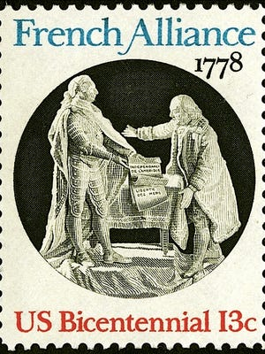 US Bicentennial Postage Stamp commemorating signing of Treaty of Alliance with France during the American Revolution