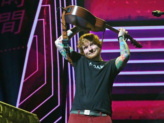 Ed Sheeran  performs on his ÷ Tour Saturday, Aug. 5,