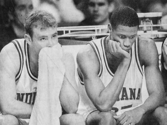 IU seniors Michael Lewis (left) and A.J. Guyton sat dejectedly on the bench as the last seconds ticked off in Pepperdine's upset over the Hoosiers in the 2000 NCAA Tournament.