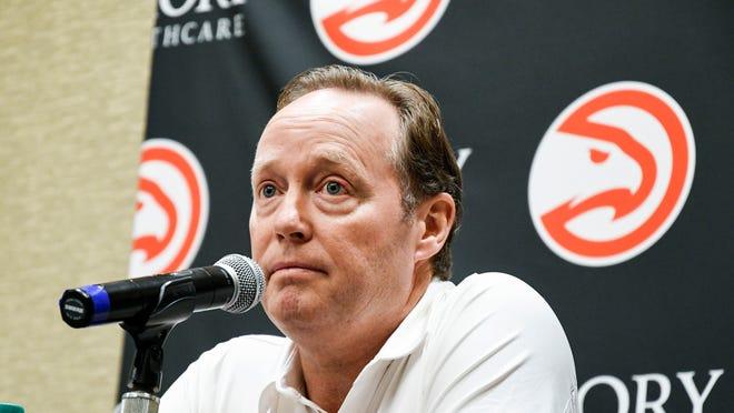 Head coach Mike Budenholzer takes questions during the Atlanta Hawks basketball media day, Monday, Sept. 25, 2017, in Atlanta. (AP Photo/John Amis)