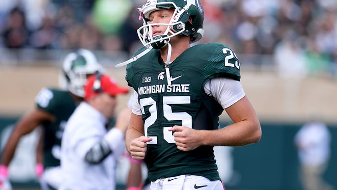 Michigan State punter Jake Hartbarger was at the Wisconsin kicking camp with Mike Sadler the day Sadler was killed in a car accident. Hartbarger found out the next morning.
