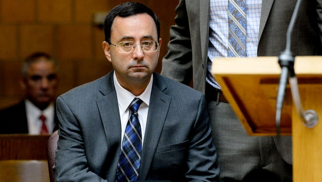 Former MSU doctor Larry Nassar appears for a pre-trial examination in Ingham County District Court Thursday Dec. 8, 2016 in Mason.
