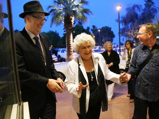 Arthur Lyons Film Noir Festival Executive Producer Alan K. Rode, left, and Palm Springs Cultural Center Managing Director Michael Green, right, escort the late actress Barbara Hale to the opening of the 2014 festival at the Palm Springs Cultural Center.