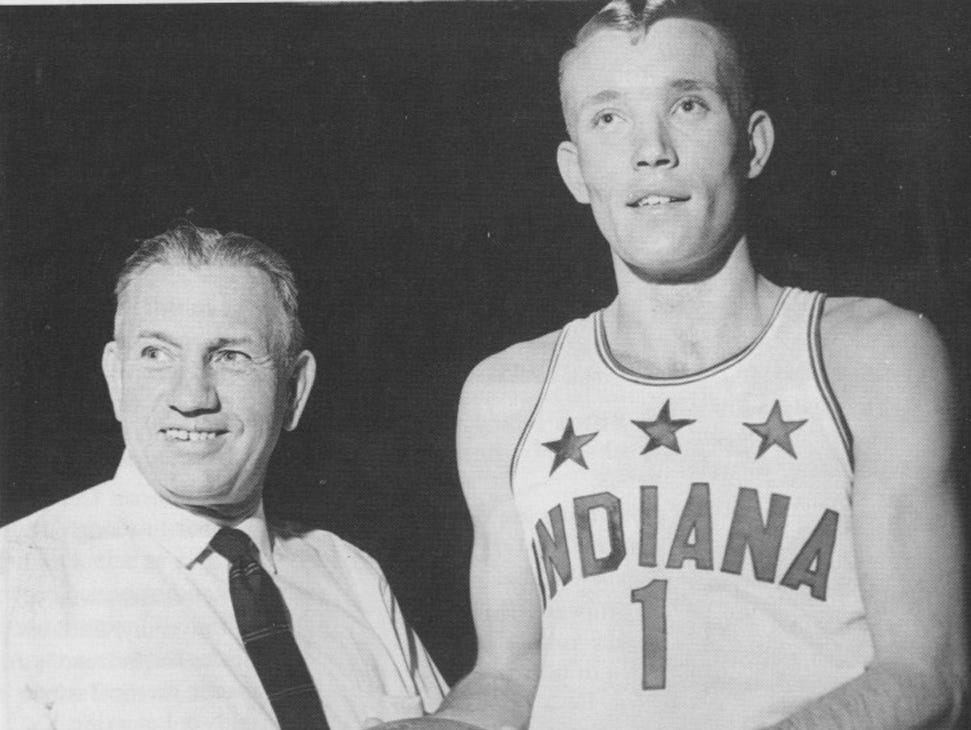 All Star coach Cleon Reynolds (left) with 1966 Indiana Mr. Basketball Rick Mount (Lebanon) File photo <b>01/13/2010 - B04 - MAIN - 2ND - THE INDIANAPOLIS STAR</b><br />Sure shot: Rick Mount (right), the 1966 Indianapolis Star Indiana Mr. Basketball, posed with All-Stars coach Cleon Reynolds. Mount scored 2,595 points.