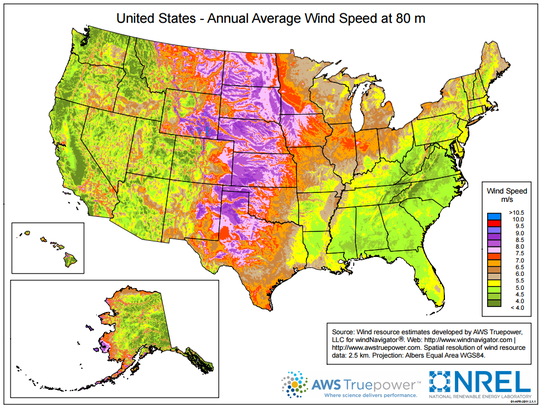 Purple indicates the windiest locations in the country.