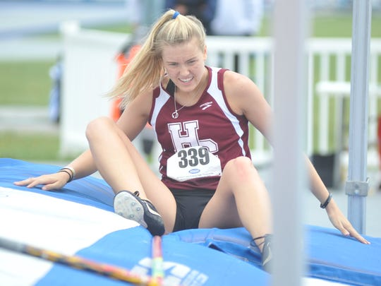 Henderson County senior Jaci Bickett reacts after missing on her final attempt at 13-0 in the 3-A state track championships Saturday at the University of Kentucky.