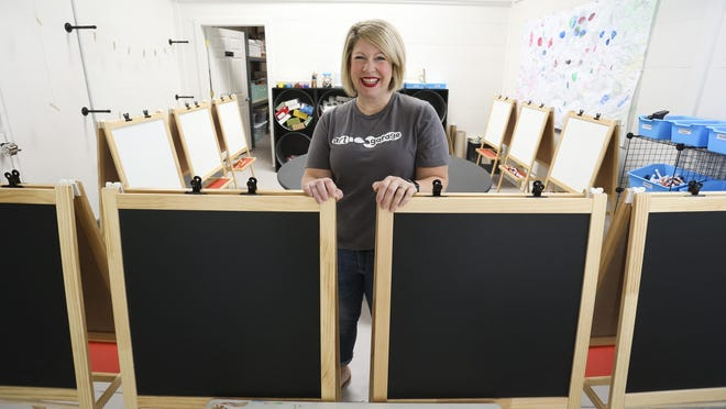 Joanna Lemmon is all set to open her art studio for kids on Sixth Street in Tuscaloosa. Lemmon stands in an instructional area in the studio she is naming the Art Garage on Tuesday, July 28, 2020.