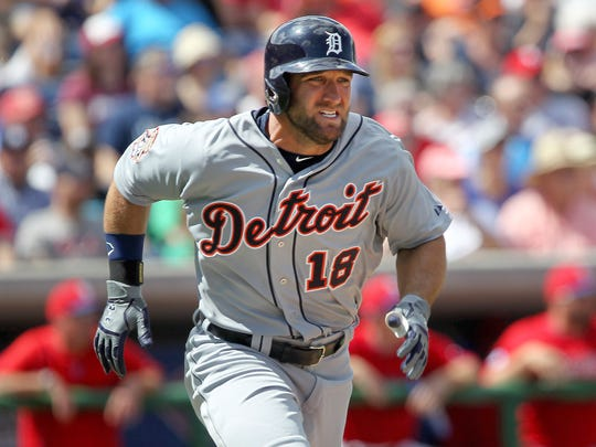 Tigers right fielder Tyler Collins (18) runs to first base during the second inning of a spring training baseball game against the Philadelphia Phillies at Bright House Field.
