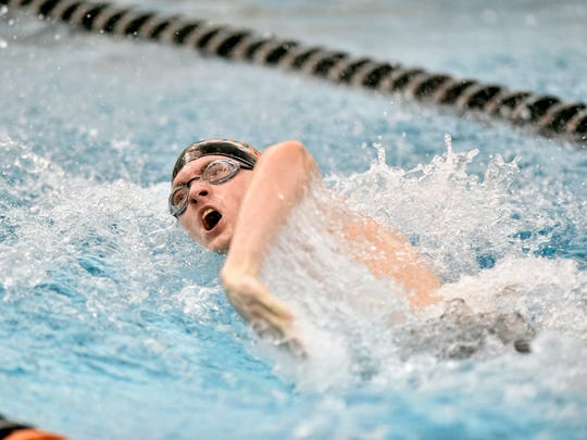 Northeastern's Hunter Bachman swims in the boys' 400-yard freestyle relay on the second day of the 2018 YAIAA swimming championships Friday, Feb. 9, 2018, at Central York.