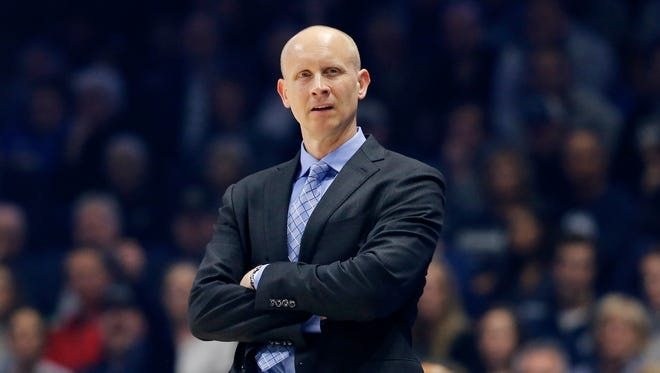 Xavier Musketeers head coach Chris Mack reacts to a call in the first half of the NCAA Big East game between the Xavier Musketeers and the Providence Friars at the Cintas Center in Cincinnati on Wednesday, Feb. 28, 2018. At halftime Xavier led 40-37.