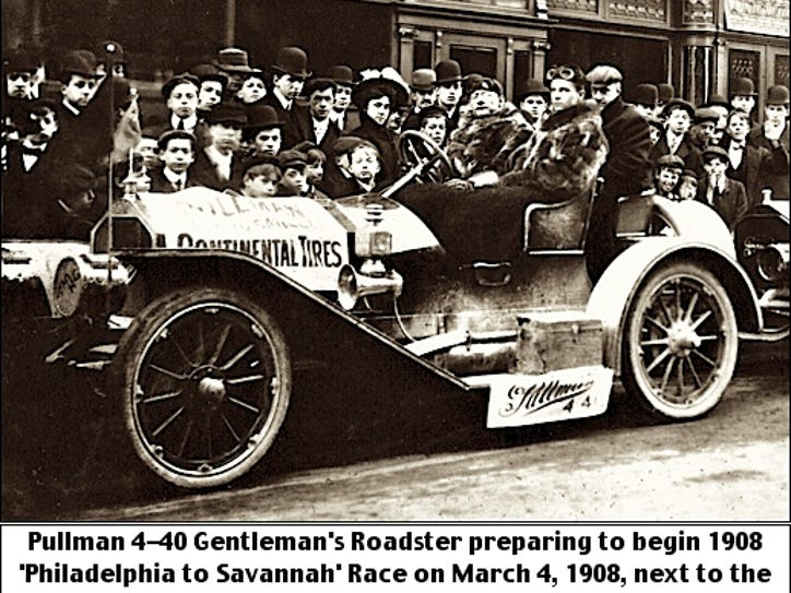 Epic auto races sell newspapers in 1908