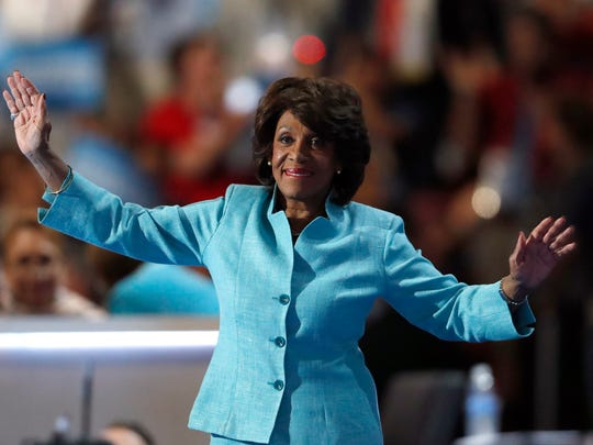 U.S. Rep. Maxine Waters, D-Calif., takes the stage
