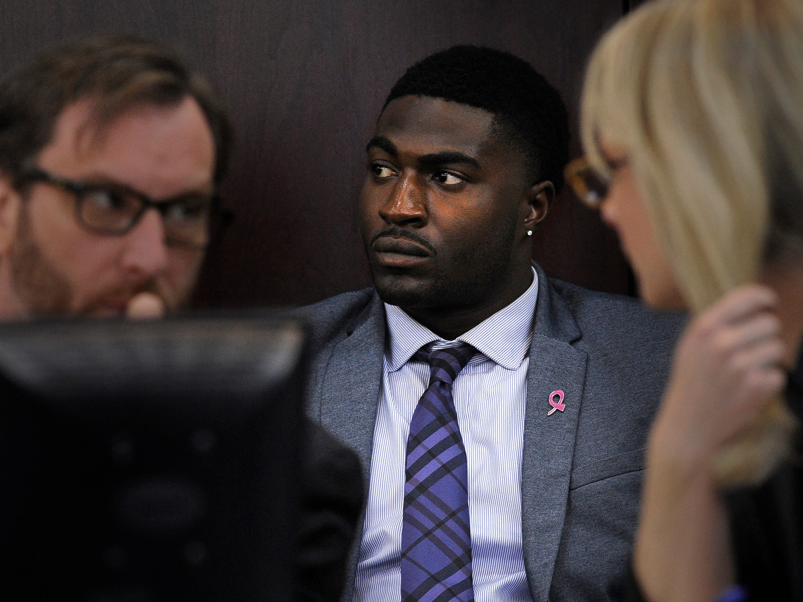 Corey Batey listens as attorneys challenge the tactics of police in the Vanderbilt rape investigation on Wednesday.