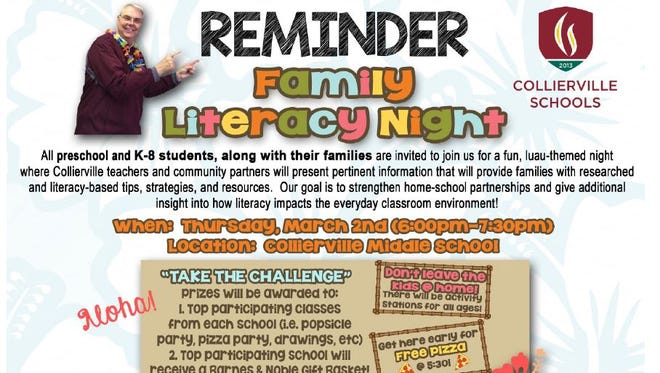 A flier promotes the Collierville schools' family literacy night.