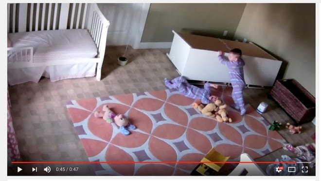 A Utah family posted an incredible video of a two-year-old boy pulling a fallen dresser of off his brother.