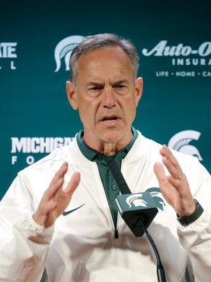 Michigan State coach Mark Dantonio addresses the media following the Spartans' spring game Saturday, April 1, 2017 at Spartan Stadium.