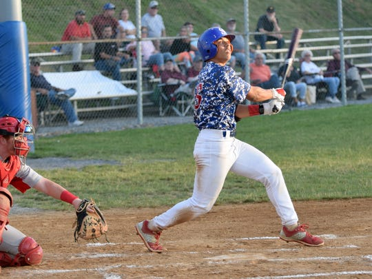 Staunton Braves second baseman Payton Robertson watches the flight of a foul ball he hit during a Valley Baseball League game against the Front Royal Cardinals on Wednesday, June 28, 2017, at John Moxie Memorial Stadium in Staunton, Va.
