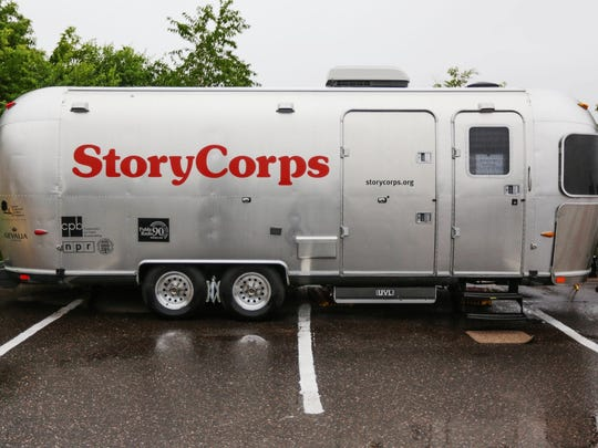 The StoryCorps MobileBooth sits at the Peter White Public Library in Marquette on Sunday, July 27, 2014, for people to tell stories about their lives to be archived at the American Folklife Center at the Library of Congress in Washington, D.C.
