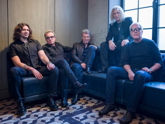 In this Oct. 19, 2016 file photo, members of Bon Jovi